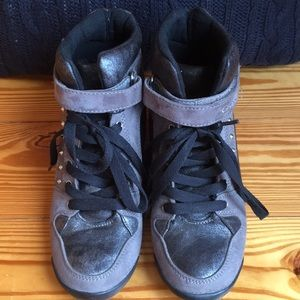 79c21497a4fd G by Guess Shoes - G by GUESS Raurie Glitter Wedge Sneakers
